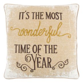 "Rizzy Home ""It's the Most Wonderful Time of the Year"" Throw Pillow"