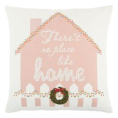 Rizzy Home 'There's No Place Like Home' Gingerbread House Throw Pillow