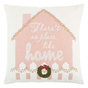 """Rizzy Home """"There's No Place Like Home"""" Gingerbread House Throw Pillow"""