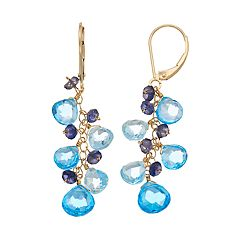 14k Gold Blue Topaz & Iolite Cluster Drop Earrings