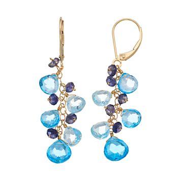 14k Gold Blue Topaz & Iolite Cluster Drop Earrings