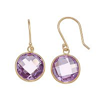 14k Gold Amethyst Round Bezel Drop Earrings