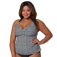 Plus Size Pink Envelope Tummy Slimmer Zigzag Tankini Top