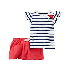 Baby Girl Carter's Striped Top & Skort Set