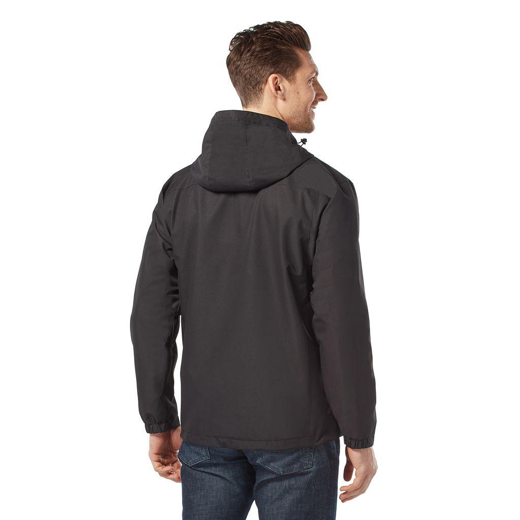 Men's Free Country Waterproof Dobby Hooded Rain Jacket