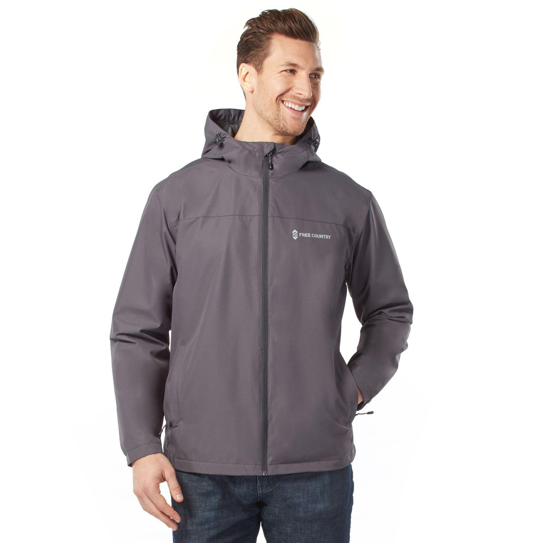 Men\u0027s Free Country Waterproof Dobby Hooded Rain Jacket