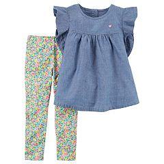 Baby Girl Carter's Flutter Chambray Top & Ditsy Floral Pattern Leggings Set