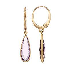 14k Gold Amethyst Round Bezel Teardrop Earrings