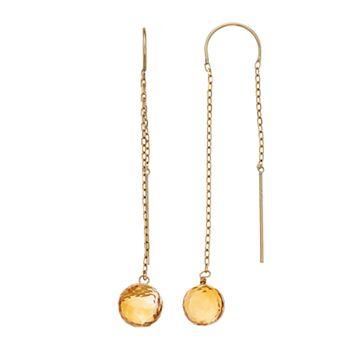 14k Gold Citrine Faceted Bead Threader Earrings