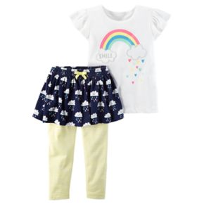 """Baby Girl Carter's """"Smile"""" Rainbow Top & Rain Cloud Pattern Skeggings Set"""