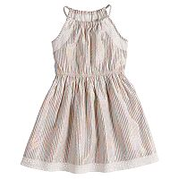 Girls 4-12 SONOMA Goods for Life™ Highneck Cinched Metallic Striped Dress