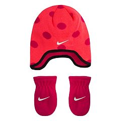 Baby Girl Nike Dotted Fleece Trapper Beanie & Mittens Set