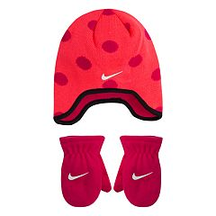 Toddler Girl Nike Dotted Fleece Trapper Beanie & Mittens Set