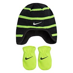 Baby Boy Nike Striped Fleece Trapper Beanie & Mittens Set