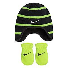 Baby Boy Nike Striped Fleece Trapper Beanie & Mittens Set