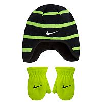 Toddler Boy Nike Striped Fleece Trapper Beanie & Mittens Set