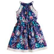 Girls 4-12 SONOMA Goods for Life™ Highneck Cinched Patterned Dress