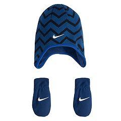 Baby Boy Nike Chevron Fleece Trapper Beanie & Mittens Set