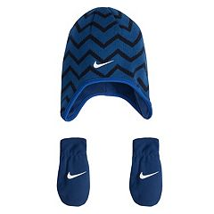 Toddler Boy Nike Chevron Fleece Trapper Beanie & Mittens Set