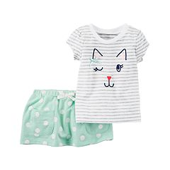 Baby Girl Carter's Kitty Cat Graphic Tee & Polka-Dot Skort Set