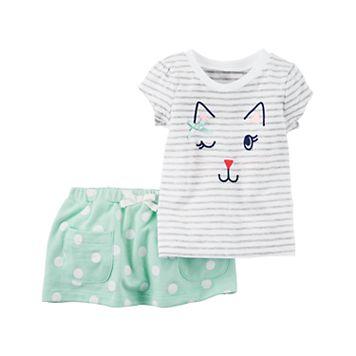 Baby Girl Carter's Kitty Cat Graphic Tee & Polka-Dot Skort Set