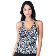 Women's Chaps Shirred Halterkini Top