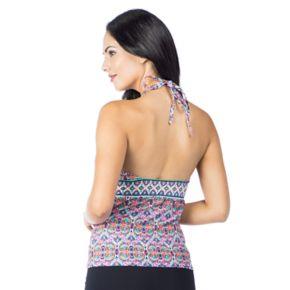 Women's Chaps High-Neck Keyhole Halterkini Top