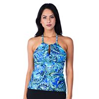 Women's Chaps High-Neck Keyhole Halterkini Top