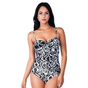 Women's Chaps Tummy Slimmer Leaf One-Piece Swimsuit
