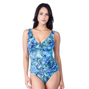 Women's Chaps Tummy Slimmer Ruffle Underwire One-Piece Swimsuit