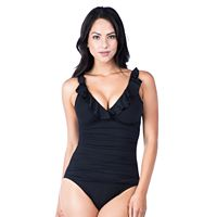 Women's Chaps Tummy Slimmer Ruffle Underwire One-Piece Swimsuit