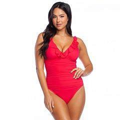 ddfb797365 Women's Chaps Tummy Slimmer Ruffle Underwire One-Piece Swimsuit