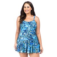 Plus Size Chaps Tummy Slimmer Bandeau Swimdress