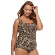 Plus Size Trimshaper Phoebe Tummy Slimming Ruched Lace-Up Swimsuit