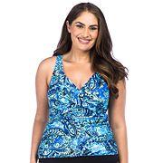 Plus Size Chaps Shirred Tankini Top