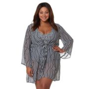Plus Size Pink Envelope Zigzag Kimono Cover-Up