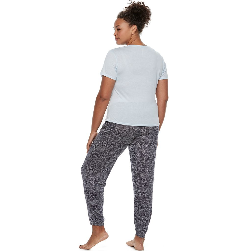 Juniors' Plus Size Wallflower Pajamas: Graphic Tee & Hatchi Jogger Pants 2-Piece PJ Set