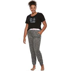 Juniors' Plus Size Wallflower Pajamas: Graphic Tee & Hatchi Jogger Pants 2 pc PJ Set
