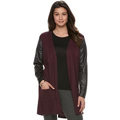Women's French Laundry Faux-Leather Mixed-Media Cardigan