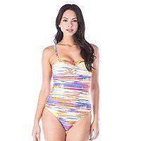 Women's Chaps Tummy Slimmer Tie-Dye Bandeau One-Piece Swimsuit