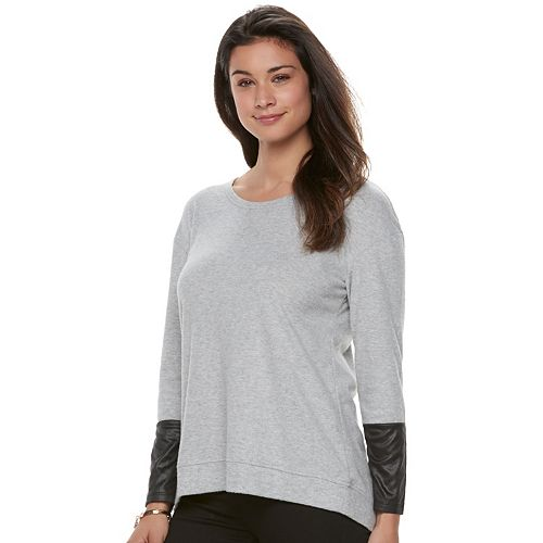 Women's French Laundry Mixed-Media Faux-Leather Top