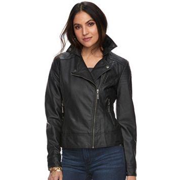 Women's Rock & Republic® Faux-Leather Moto Jacket