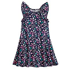 Girls 4-10 Jumping Beans® Pom-Pom Ruffle Trim Patterned Raglan Flutter Dress