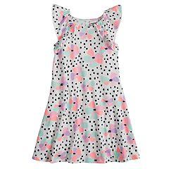Girls 4-10 Jumping Beans® Pom-Pom Ruffle Trim Patterned Raglan Flutter Dress