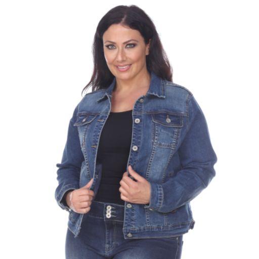 Plus Size White Mark Embellished Back Jean Jacket