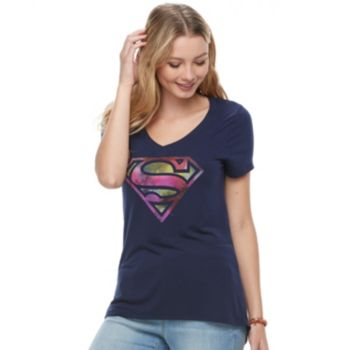 Juniors' Superman Classic Shield Graphic Tee