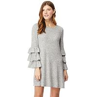Juniors' Wallflower Ruffle-Sleeve Sweater Dress