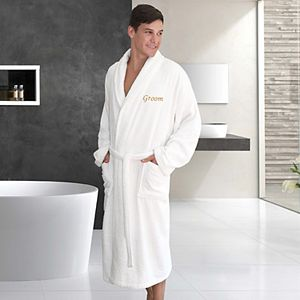 "Linum Home Textiles ""Groom"" Embroidered Cotton Terry Bathrobe"