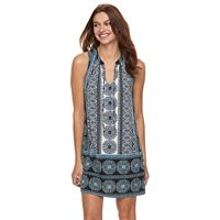 Petite Suite 7 Printed Tie Front Shift Dress