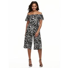 Petite Suite 7 Printed Off Shoulder Jumpsuit